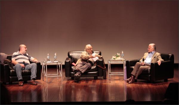 Da direita para a esquerda: Ricardo Kotscho, Carlos Chaparro e Mino Carta. Foto: Renata Asp