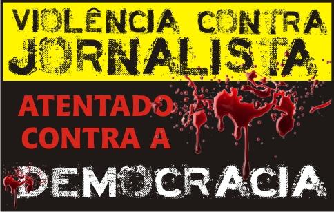 Banner criado pela FENAJ para campanha de repúdio à violência contra jornalistas.