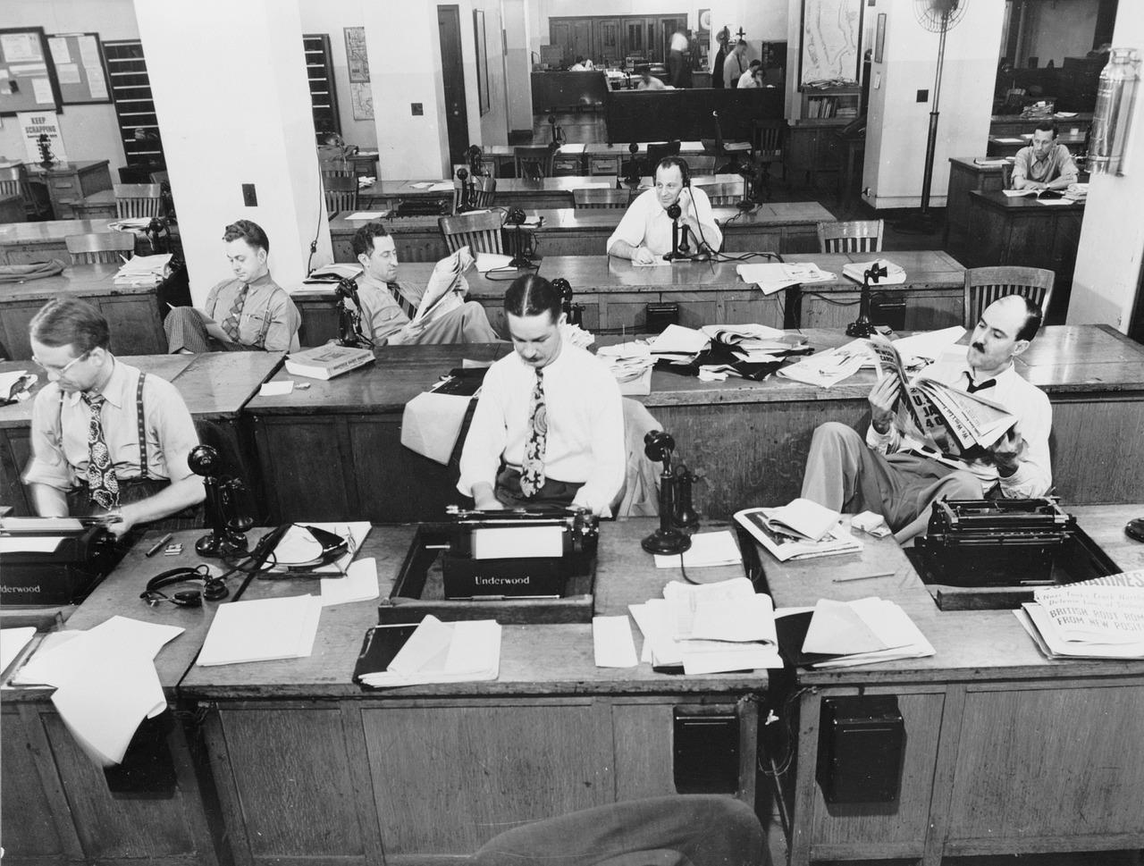 """Redação do """"New York Times"""" em 1942. Foto: Pixabay"""