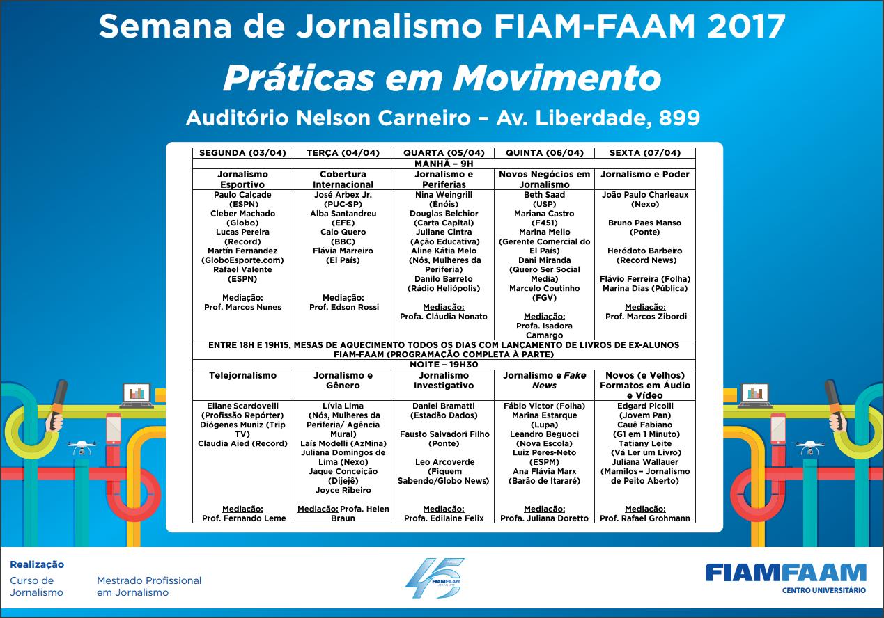 Semana de Jornalismo FIAM FAAM - Programação atualizada