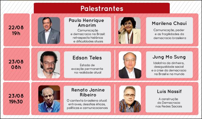 Palestrantes IX Simpósio de Comunicação FAPCOM