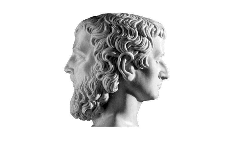 Representação de Jano, o deus de duas faces.